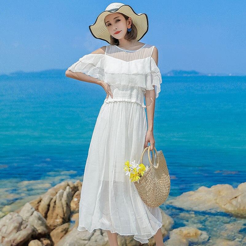 Robe en soie 2019 printemps été femmes longue décontracté sexy en mousseline de soie robes de plage bohème plus grande taille boho blanc sans bretelles mode