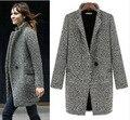 2015 Diseño Nueva Primavera/Invierno Trench Coat Mujeres Gris Medio Largo de Gran Tamaño Lanas de la Chaqueta Caliente Europea Moda Abrigo