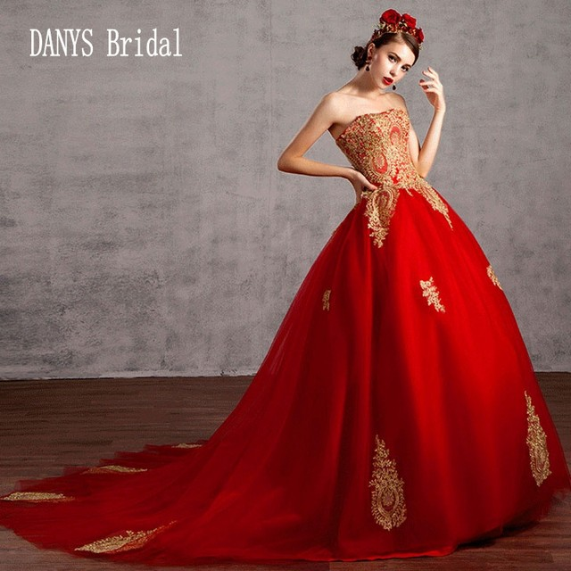 Online Shop Ball Gown Red Wedding Dresses 2017 Princess Style ...
