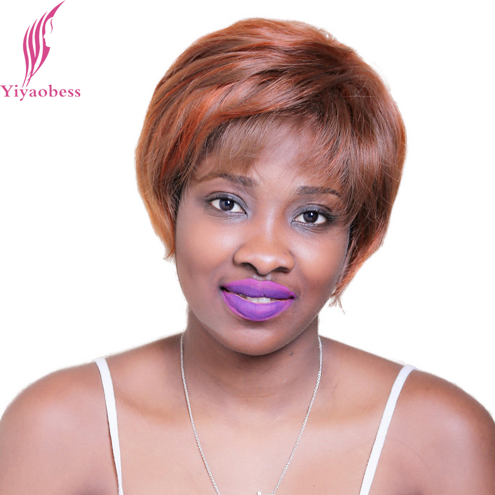 Yiyaobess 30cm 33# Straight Brown Short Wigs For Black Women Heat Resistant Synthetic Ha ...