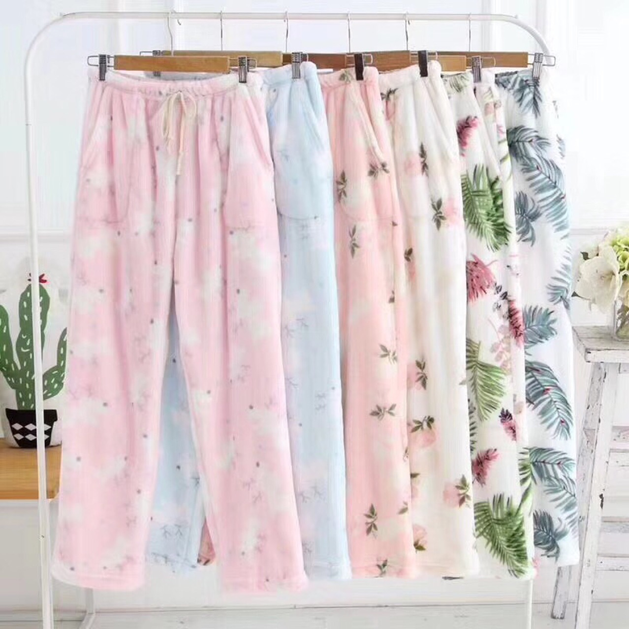 2018 Winter New Thicken Flannel Pants for Women Flannel Pajama Pants Women Sleep Bottoms Warm Floral Lounge Pants