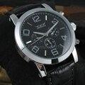 2016 JARAGAR Luxo Mechancial Relógios Data Semana dos homens Multifunction Watch Leather Strap Automática Auto Vento Homens Relógios De Pulso