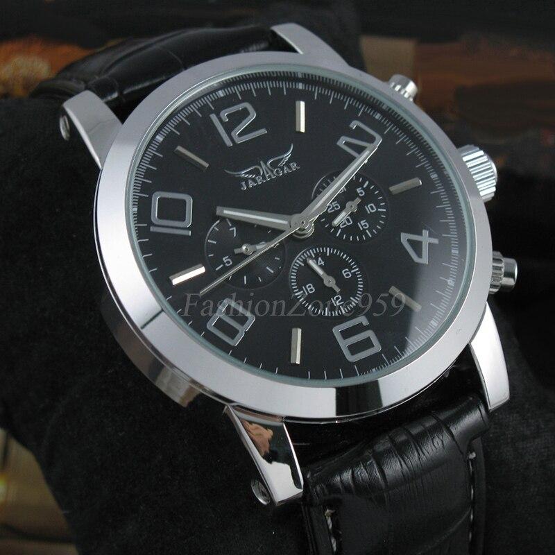 Prix pour Marque de luxe jaragar mechancial montres hommes date de semaine montre multifonction bracelet en cuir automatique auto vent hommes montres