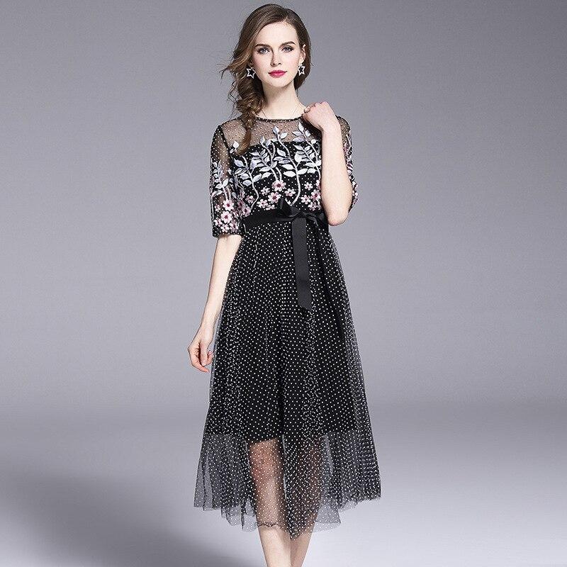 MUXU Embroidery Gauze Dress Summer New polka dot black dressessexy transparent mesh fashion elegant sundress sukienka plus size