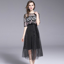 MUXU Embroidery Gauze Dress Summer New polka dot black dressessexy transparent mesh fashion elegant sundress sukienka plus size