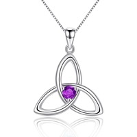 Natural Purple Amethyst 925 Sterling Silver Irish Knot Pendant Necklace for Women Birthstone Jewelry
