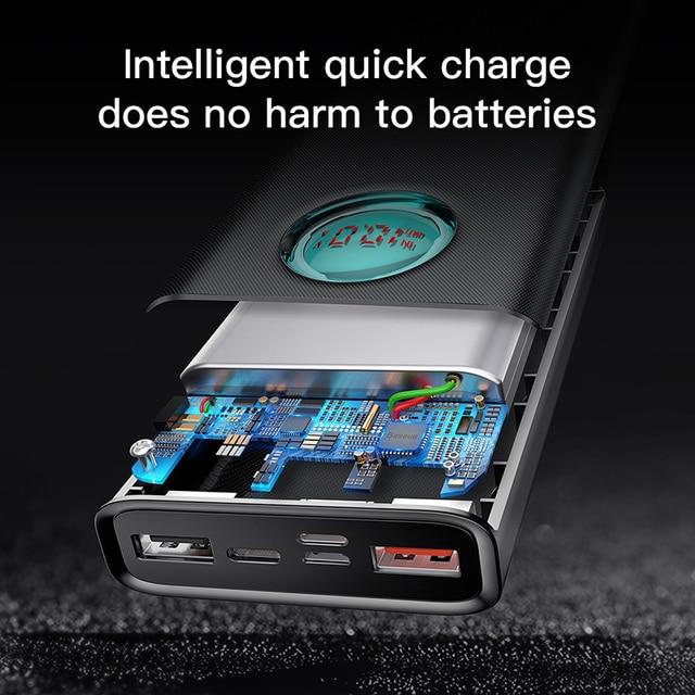 Baseus 20000 mAh batterie externe Pour iPhone Samsung Huawei Type C PD Rapide De Charge + charge rapide 3.0 USB 4