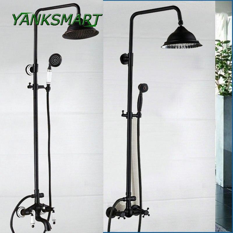 YANKSMART vintage Bathroom Black Shower Set Wall Mounted 8\