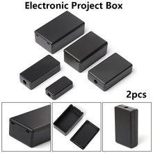 New 2pcs Waterproof Black DIY Housing Instrument Case ABS Plastic Project Box Storage Case Enclosure Boxes Electronic Supplies(China)
