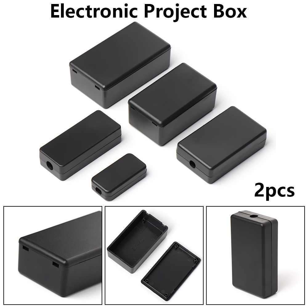 Nuevo 2 uds impermeable negro DIY carcasa caja de instrumentos ABS plástico proyecto caja de almacenamiento caja cajas suministros electrónicos