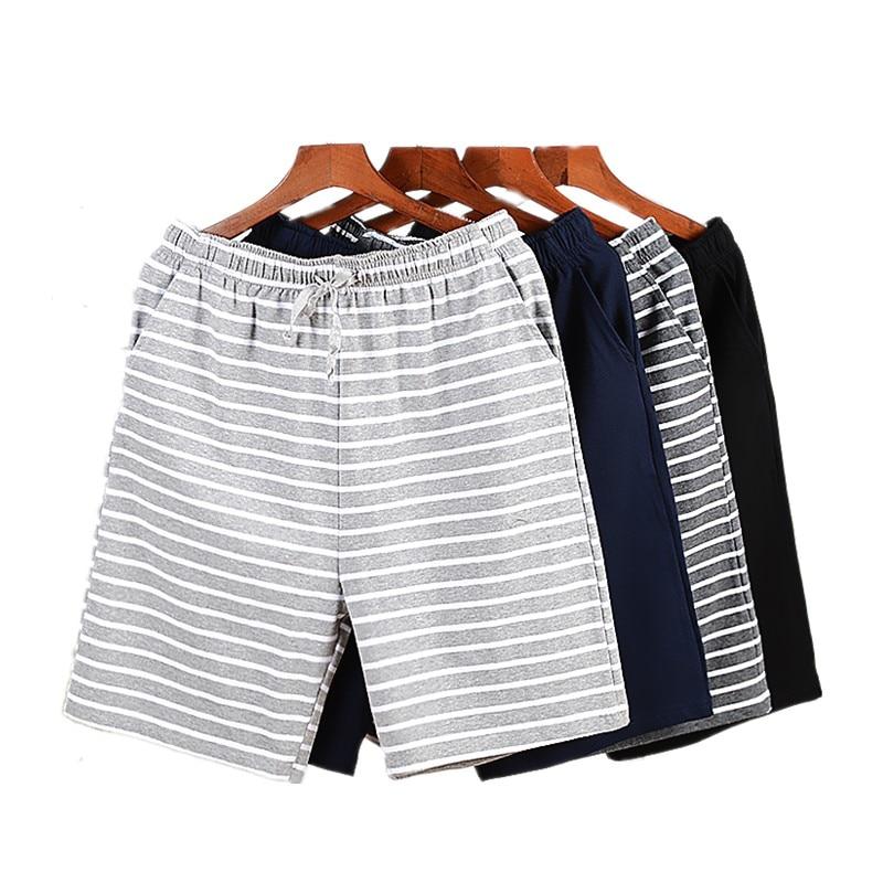 Summer Sexy Men's Sleep Bottoms 100% Cotton Sleep&Lounge Striped Shorts Men Cofy Sleepwear Male Short Lounge Plus XXXXL Homewear