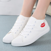 New Women Casual Shoes White Cute Trainers Fashion Mid Top Canvas Shoes Trainers Fashion Shoes Basket Chaussure Femme