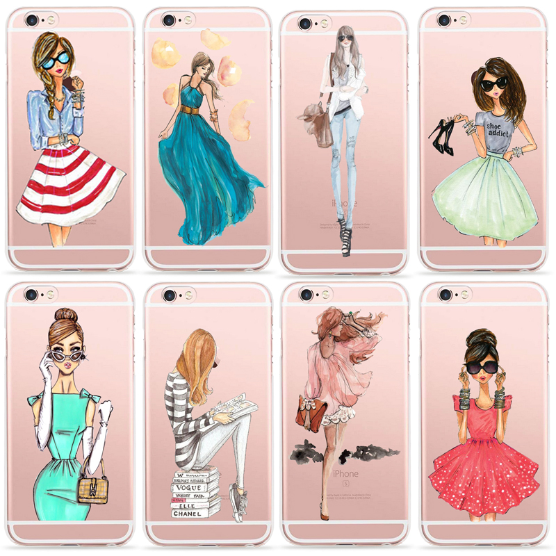 Fashion Cute Girl Cover Fundas For Apple Iphone 4 4s 5 5s Se 6 6s 7 Plus Iphone7 Accessories Phone Cases Silicone Coque