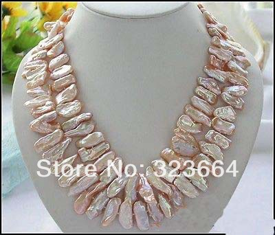 2ROW 19 28MM PINK DENS BIWA CULTURED PEARL NECKLACE