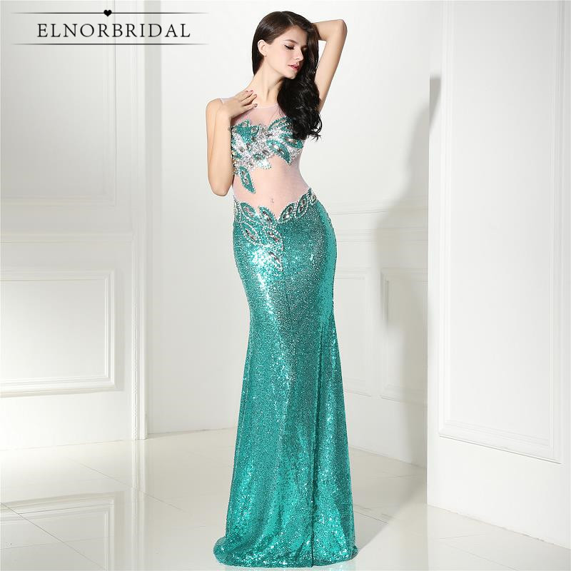 Hot Sales Sequins Evening Dresses Mermaid 2019 Robe De Soiree Illusion Back Long Prom Dress Sheer Celebrity Party Gowns
