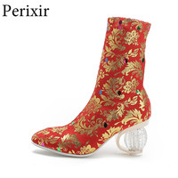 Women New Fashion Ankle Boots Embroidered Crystal Heel Short Boots Flower Sexy High Heel Slip On Shoes Lady Autumn Party Shoes