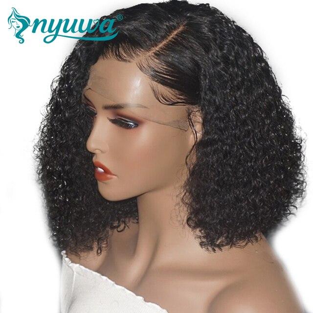 Peluca de pelo humano frontal de encaje para mujer Base de seda Pre-desplumado nudos blanqueados Nyuwa encaje corto Remy brasileño pelo de delante