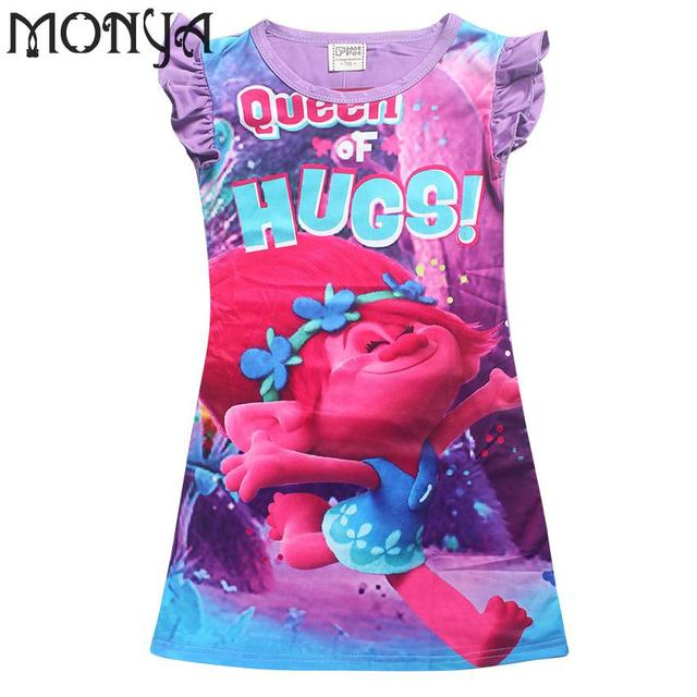 Trolls poppy Costume Children Clothing Girls Pajamas Dress New Year Costumes For Kids Dresses For Girls 10 Years For Teenagers