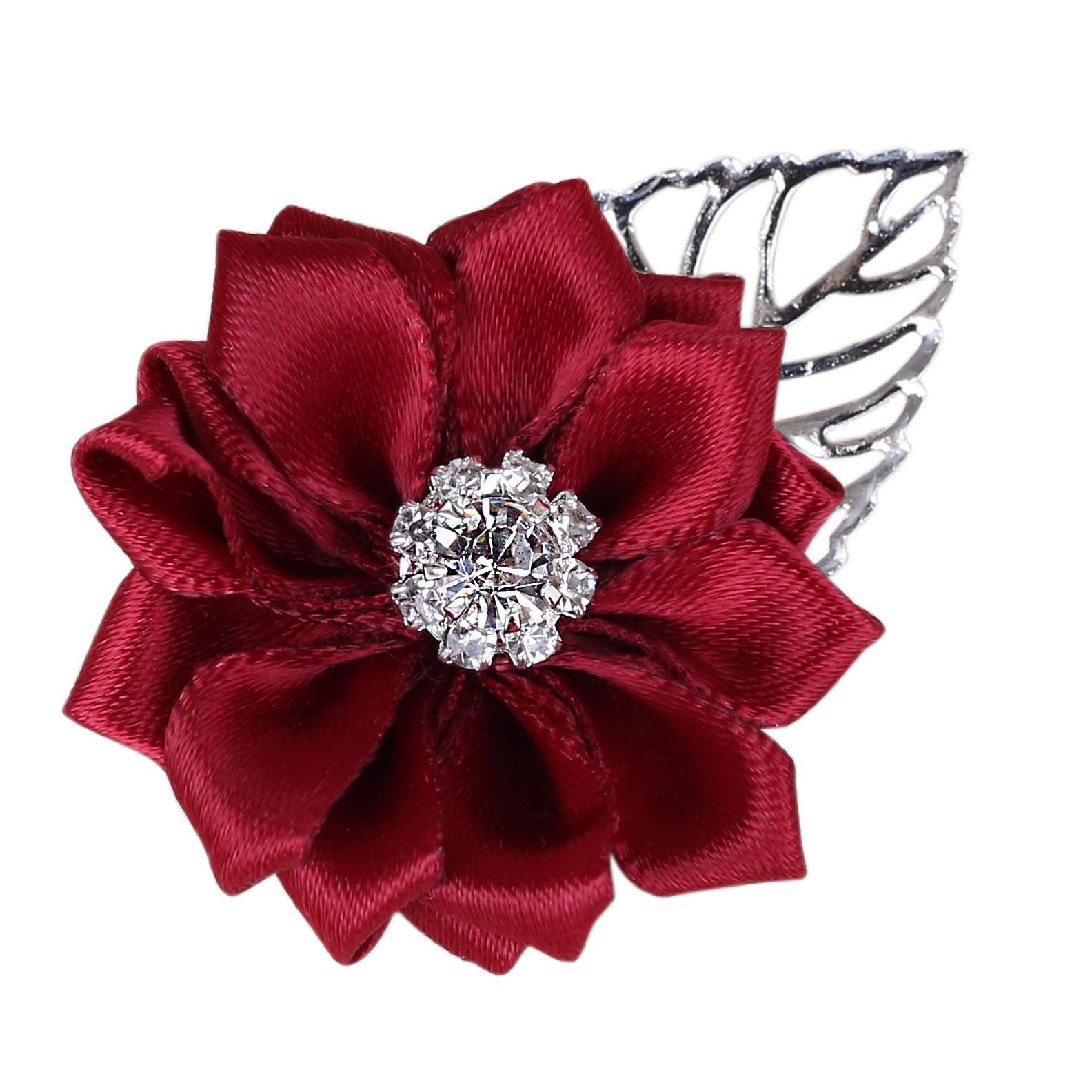 Burgundy Artificial Flower Crystal Boutonniere Best Men Wedding Customizable Groomsmen Bridesmaid Wedding Prom Corsage XH037