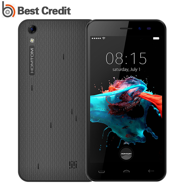 Original 5 Inch Homtom HT16 Mobile Phone Android 6.0 MT6580 Quad Core 1.3GHz 1GB RAM 8GB ROM HD 1280*720 3000mAh 8.0MP Cellphone