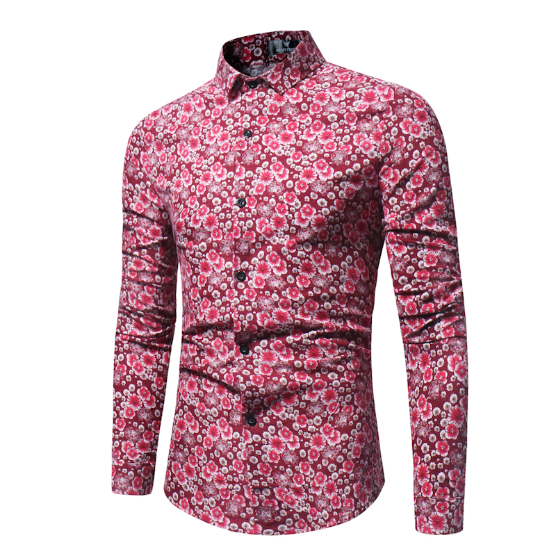Men Linen Flower Shirt 2019 New Retro Floral Printed Man Casual Dress Shirt Brand Clothing Fashion Slim Fit Long Sleeve Shirt