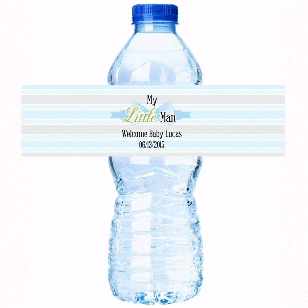 Personalised stickers little man baby shower personalized for Decor water bottle