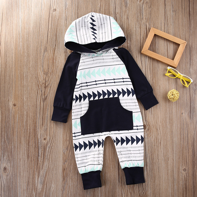 2017 Newborn Infant Baby Boys Girls Long Sleeve Hooded Xmas Gift Romper Jumpsuit Playsuit Warm Clothes Outfits With Pocket toddler infant baby boys girls denim romper jumpsuit children clothing boy girl costume long striped sleeve outfits playsuit