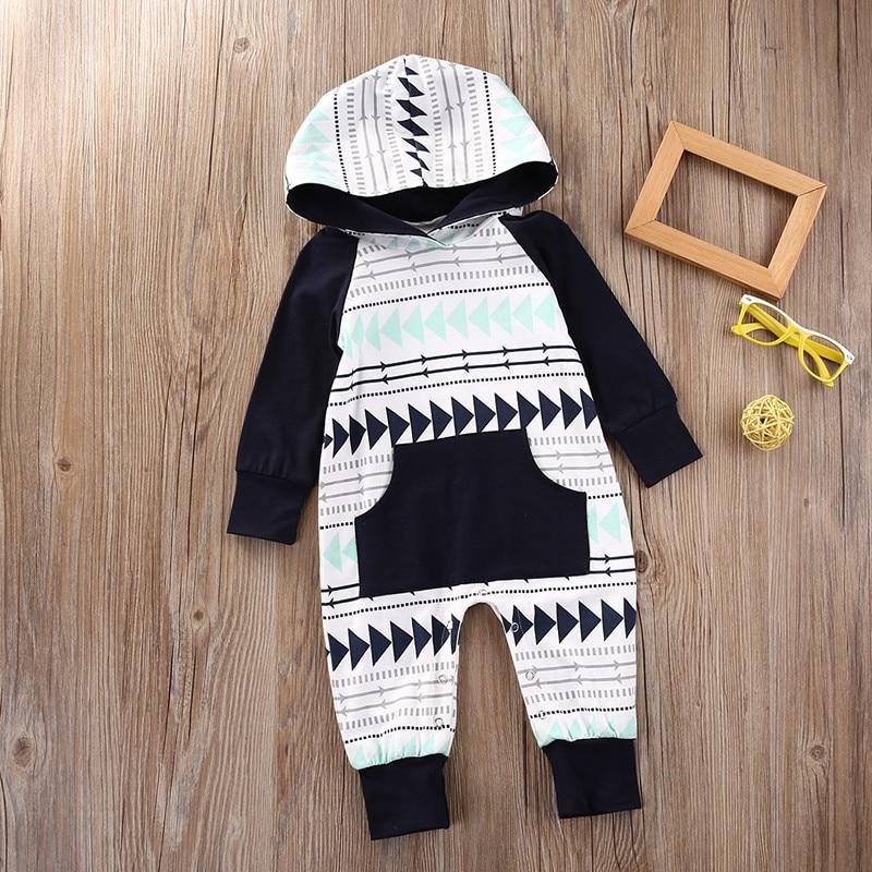 2017 Newborn Infant Neonati maschi Ragazze Manica Lunga Con Cappuccio Regalo di Natale Pagliaccetto Tuta Tuta Vestiti Caldi Outfit Con Tasca