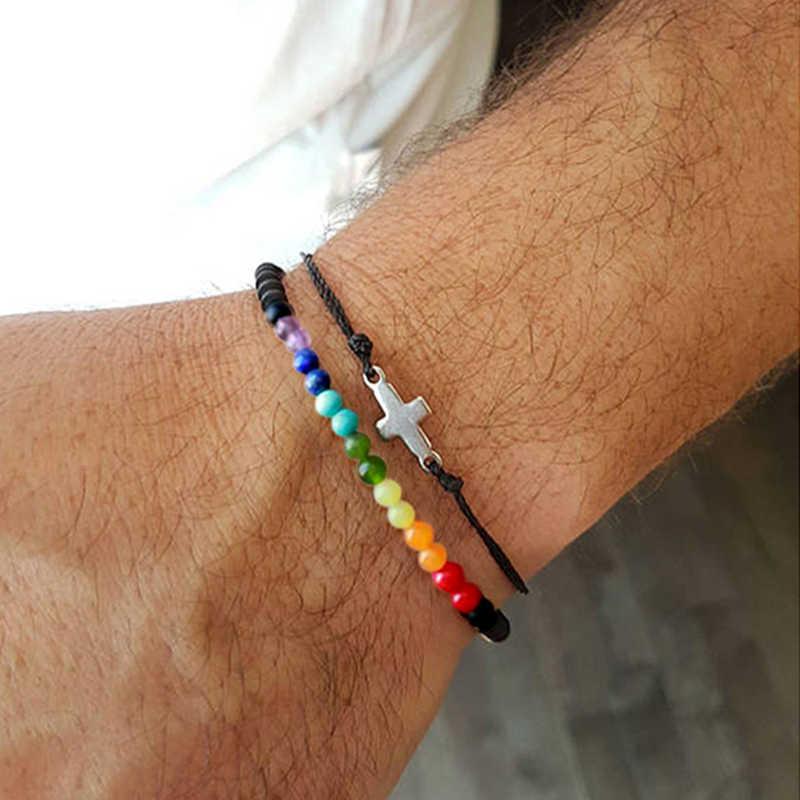 7 Чакра браслет набор для мужчин 4 мм маленький натуральный камень бисером Исцеление баланс Будда молитва Йога Seedbeads Boho браслет