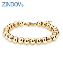 ZINDOV Hot Trendy Silver Rose Gold Filled 316L Stainless Steel Beads Bracelets Female font b Women