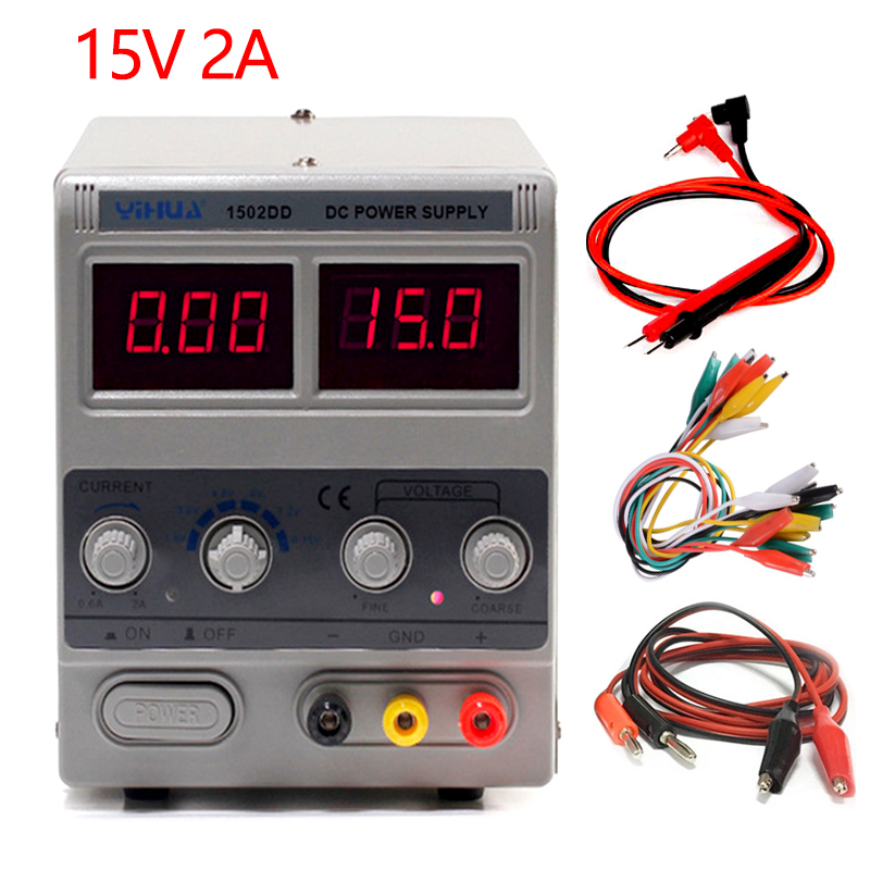 YIHUA 1502DD DC Power Supply Laboratory Adjustable Digital For Phone Repair 15V 2A Voltage Regulator Switching DC Power Supply