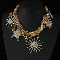 CirGen Fashion Women Big Metal Sun Star Pendants Chokers Statement Gold Color Chunky Chains Collar Bijoux Necklace Jewelry,A07