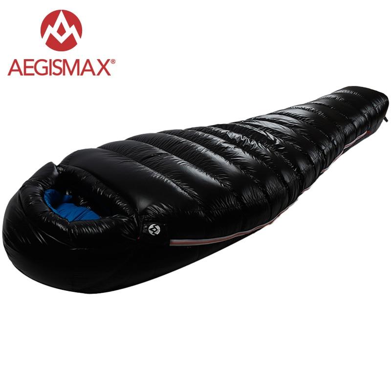 AEGISMAX 95% белый гусиный пух Мумия спальный мешок холодной зимы Сверхлегкий дизайн перегородки пеший Туризм Кемпинг Сращивание FP800