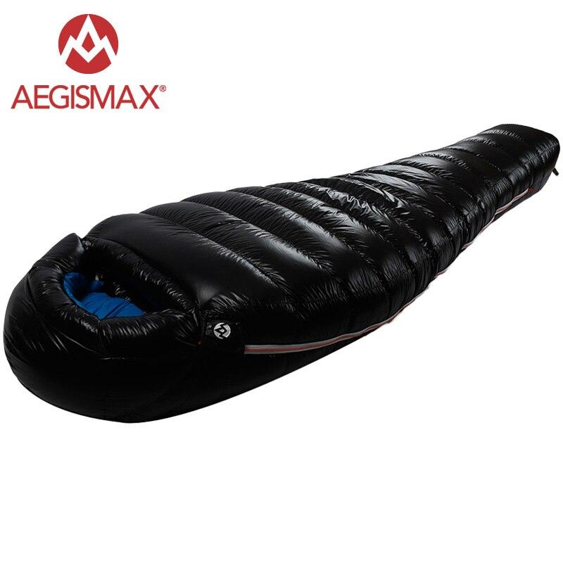 AEGISMAX 95% Oca Bianca Giù Mummia Sacco A Pelo di Campeggio Freddo Inverno Ultralight Escursioni Invernali Campo Splicing Sacco A Pelo