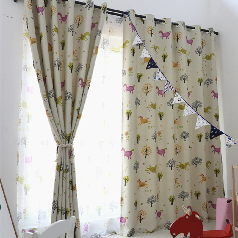 XYZLS Brand Cartoon Horse Blinds Blackout Curtains Sheer Tulle Curtain for Study Room Bedroom for Kids Window Shade Drapes
