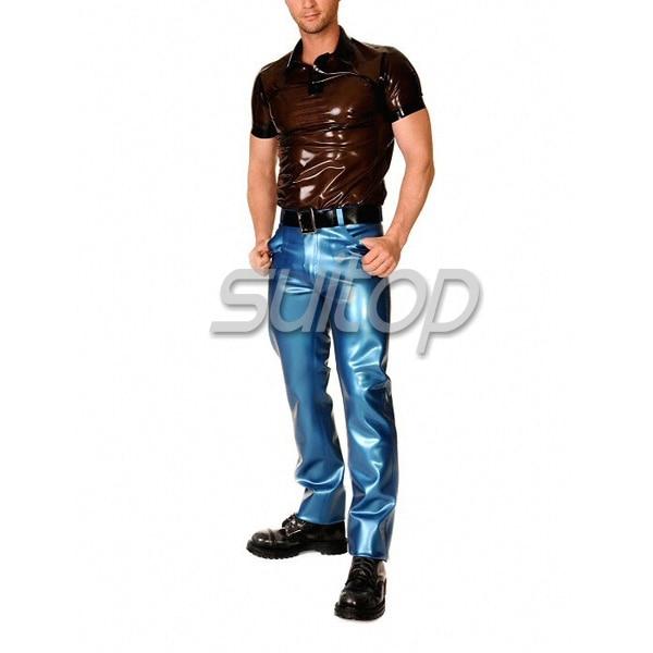 Pantalón de caucho azul metalizado de látex para hombre (NO incluye - Ropa de hombre