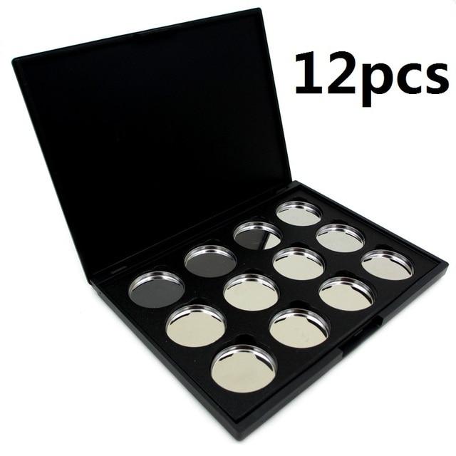 12PCS/SET Eyeshadow Pigment Removable Aluminum Palette Pigment Pans Palette Case  Tool Kit 21cm x 17cm x 2cm A14