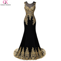 Luxury White Blue Red Black Mermaid Prom Dress With Gold Appliques Grace Karin Floor Length Party
