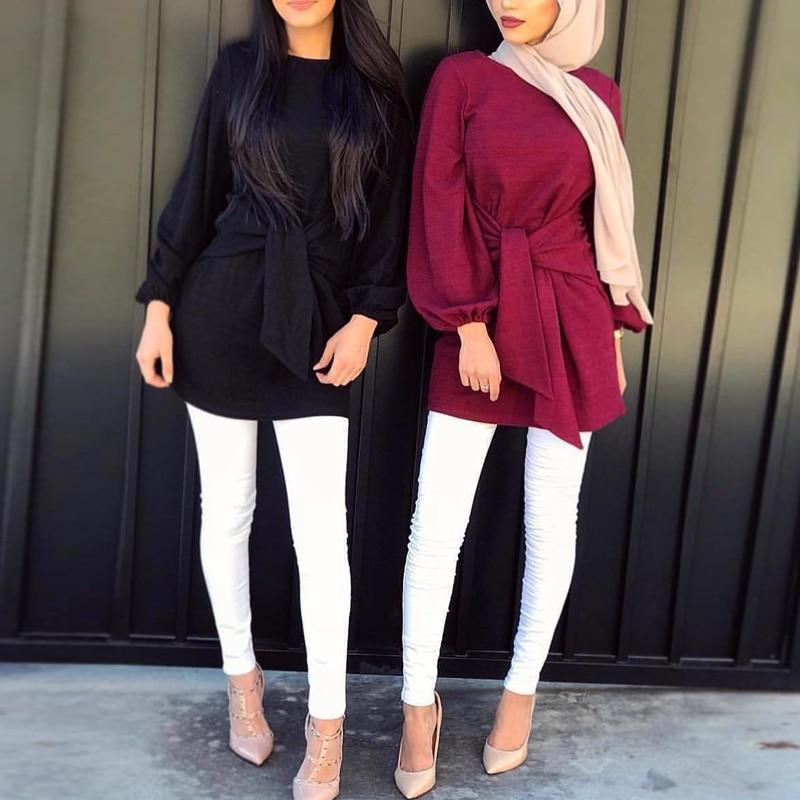 Bandage Abaya Turkish Muslim Turkey Islamic Clothing Long Sleeve Shirts Blouse Loose Long Tops Clothes Women Ropa Turca Mujer