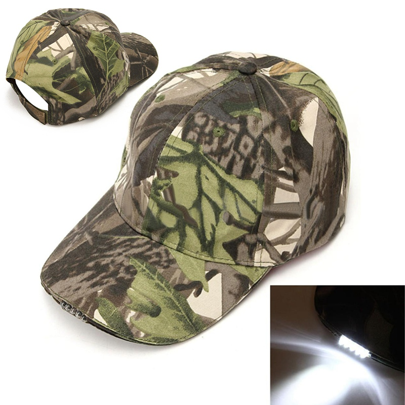 New Light Camo 5 Led Lights Hiking Fishing Cap Adjustable Strap Vintage Camouflage Hunting Hat Outdoor Camping Caps