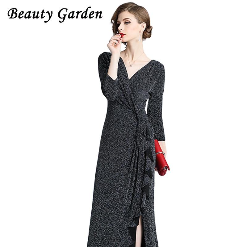 Beauty Fashion Group: Beauty Garden Women Fashion Solid Dress Wrist Sleeve V