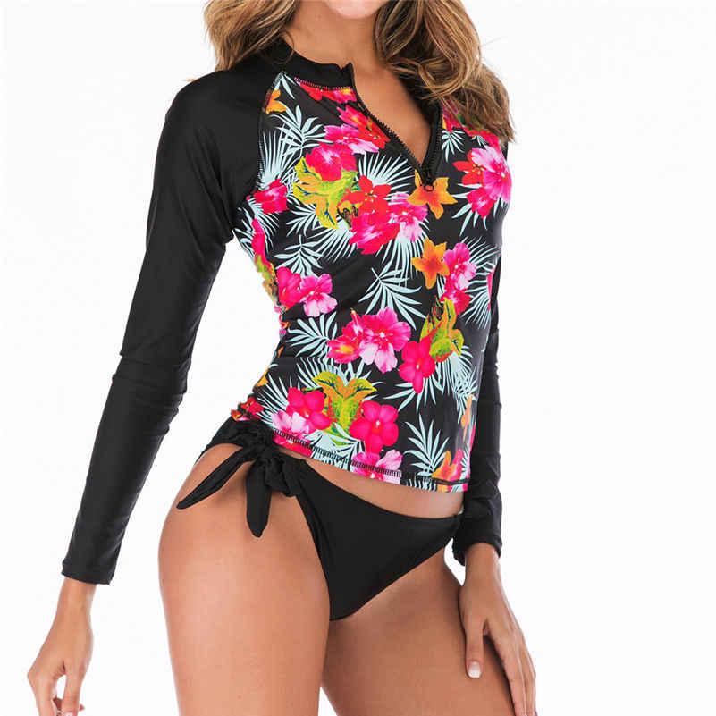 2019 Lengan Panjang Ruam Penjaga Wanita Surf Baju Renang Floral Daun One Piece Swimsuit untuk Menyelam Renang Cocok K Berlaku Pakaian Selam 4as