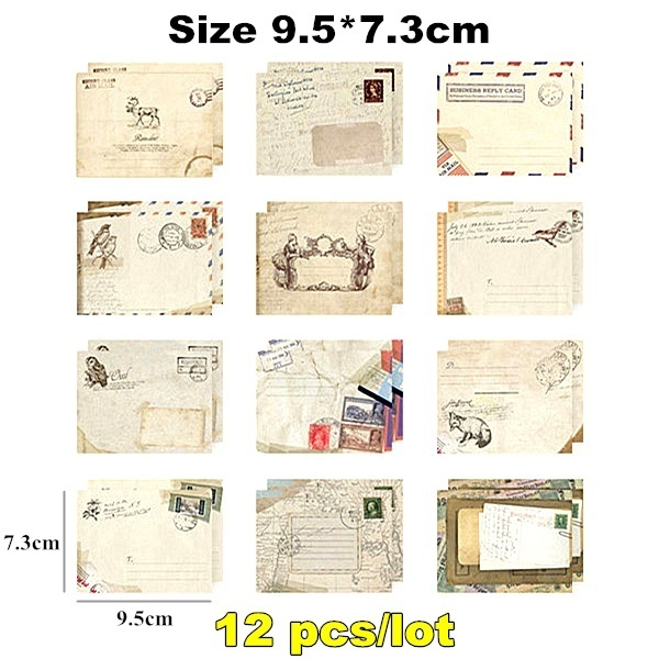 12pcs set Retro Party Invitation Cards Letter Envelope for Xmas Birthday Party DROP SHIPPING WHOLESALE OK in Cards Invitations from Home Garden