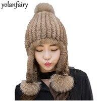 Women's Natural Mink Fur Hat Winter Hats for Women Large Fox Fur Pompom Streetwear Hat with Ears Thick Caps Czapka Zimowa MY821