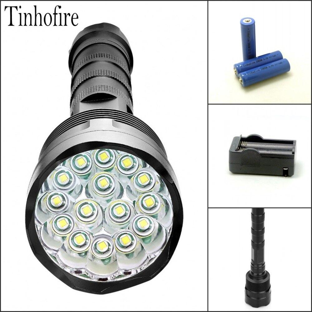 Tinhofire CX 13/14/15 T6 CREE XM-L T6 20000 Lumens 5-Mode LED Flashlight Torch Lamp Light Black +3xBattery+ Charger