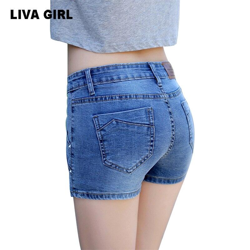 8d3ba8cf4eee12 LIVA RAGAZZA Skinny Denim Shorts Mutandine Sexy Jeans Retro Classic Moda Donna  Ragazze Delle Signore Bicchierini Del Denim in LIVA RAGAZZA Skinny Denim ...