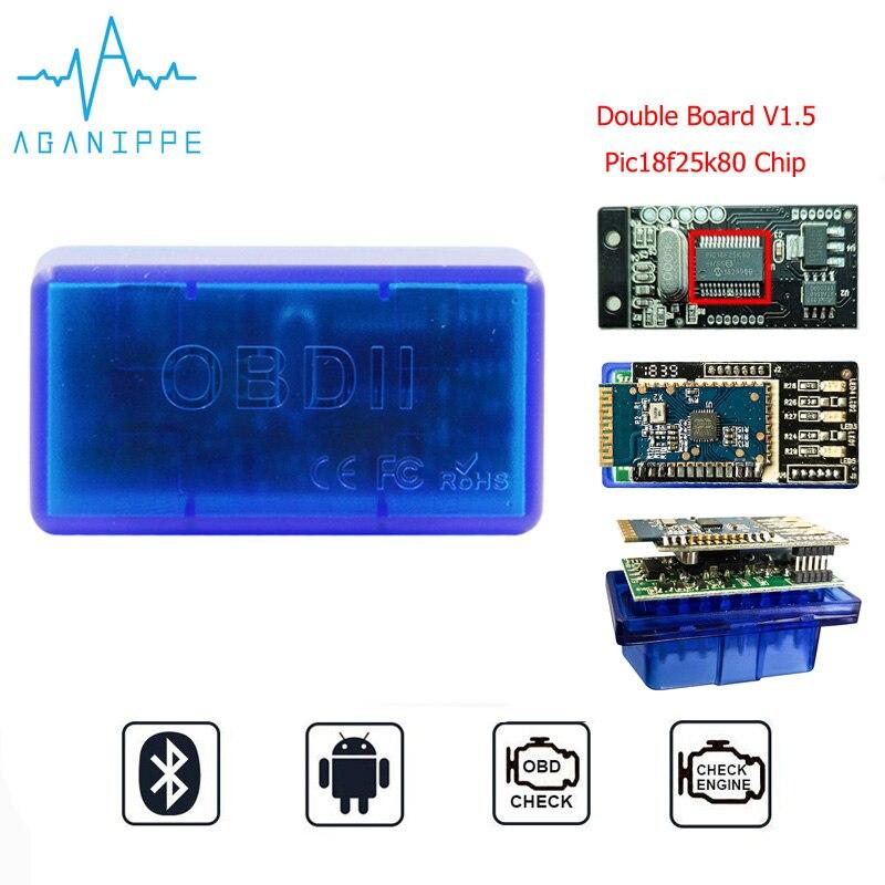 Double Board Elm327 V1.5 Pic18f25k80 OBD2 Bluetooth Elm 327 V1.5 OBD2 Scanner Car Diagnostic Tool Eml327 1.5 ODB2 Scan Tool