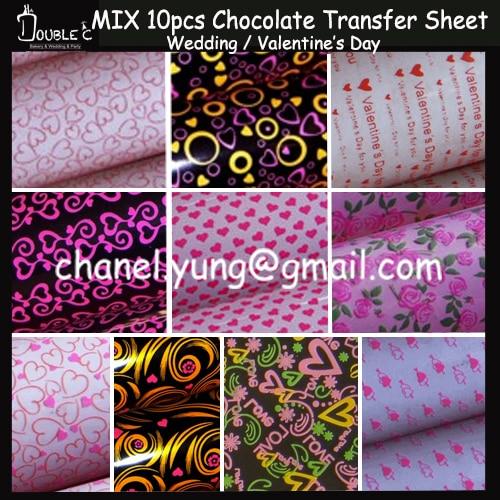 Chocolate Transfer Sheet,Valentine's Day Love Series 10 MIX Chocolate Mold,Heart Design Chocolate,Wedding Cookie Sheet,10pcs/BAG