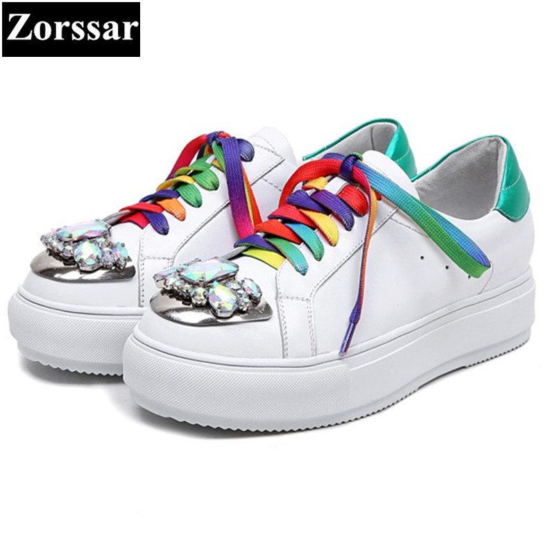 {Zorssar} 2017 New Genuine leather rhinestone Women Flats Shoes Female Casual Flat shoes Woman loafers lace up womens shoes 2016 new arrival woman flats genuine leather white women casual shoes platform hot sale designer flat shoes drop shipping