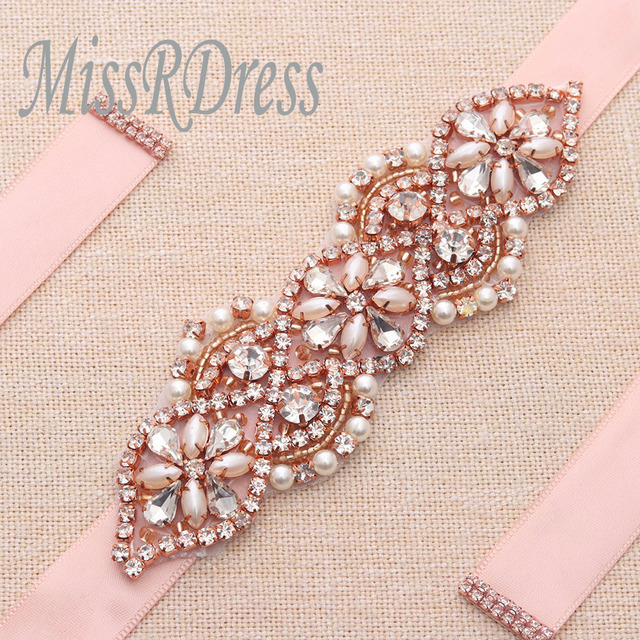 MissRDress Rhinestones Wedding Belt Rose Gold Crystal Bridal Sash Elegant  Pearls Bridal Dress Belt For Wedding 889a072ac72b
